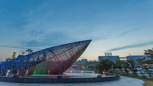 Sunset view of the whale-shaped sculpture in front of Ulsan Station, Ulsan