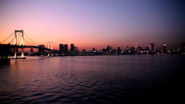 Blick auf den Sonnenuntergang von Tokio