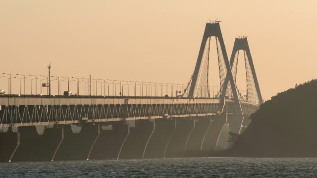 Sunset view of traffic moving on Yeongjongdaegyo Bridge in fine dust