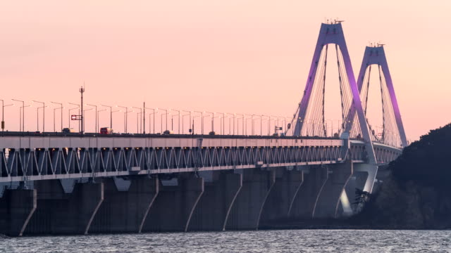 Sunset view of traffic moving on Yeongjongdaegyo Bridge