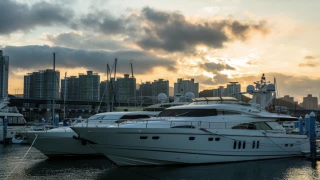 Sunset view of yacht at marina in the Haeundae