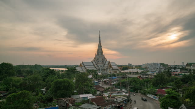 Sunset Wat Sothonwararam is a temple in Chachoengsao