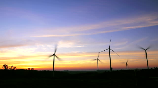 sunset wind turbines - recycling stock videos & royalty-free footage