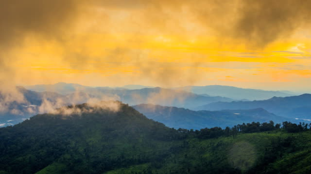 sunset with cloud over mountains - morning dew stock videos & royalty-free footage