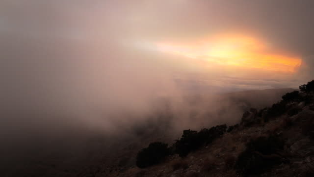 sunset with fog at joshua tree 3 - coal stock videos & royalty-free footage