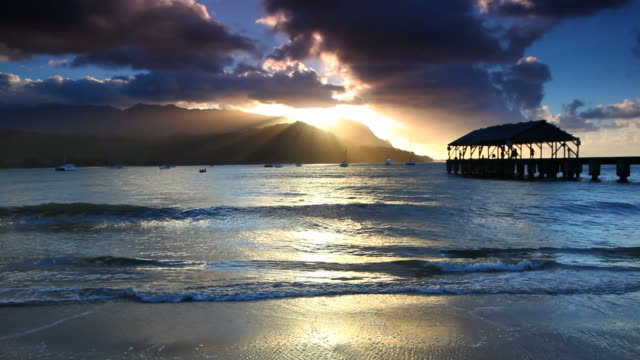 sunset with hanalei pier, kauai, hawaii