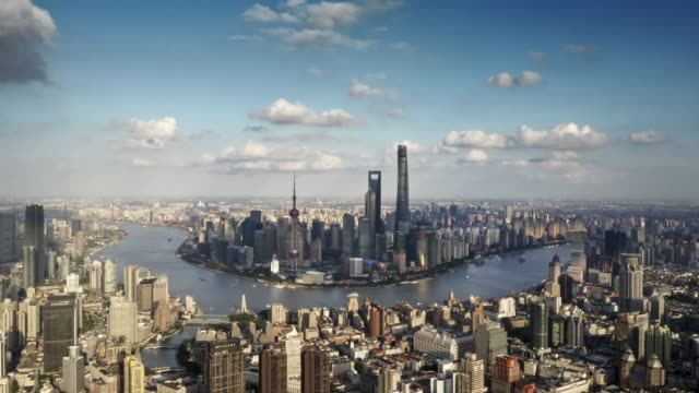 sunset with modern skyscrapers, shanghai, china - lujiazui stock videos & royalty-free footage