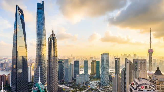 t/l ws ha pan sunset with modern skyscrapers / shanghai, china - shanghai stock videos & royalty-free footage