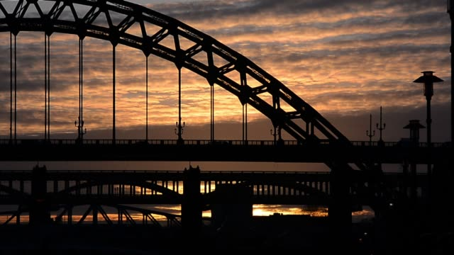 sunsets behind the tyne bridge general views of the tyne bridge on april 05 2013 in newcastle upon tyne england - newcastle upon tyne stock videos and b-roll footage