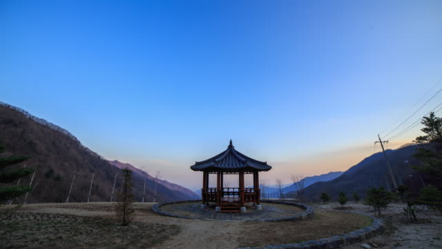sunsetting view of korea traditional architecture(gazebo) - gazebo stock videos & royalty-free footage