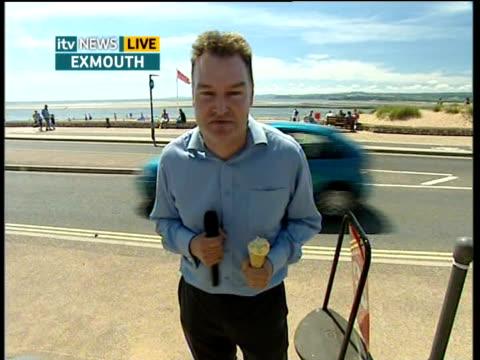 Devon Exmouth EXT Reporter to camera / vox pop / John Hammond interview SOT