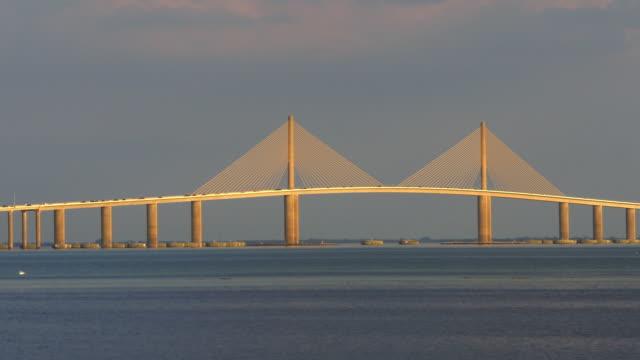sunshine bridge at sunset - tampa stock videos & royalty-free footage