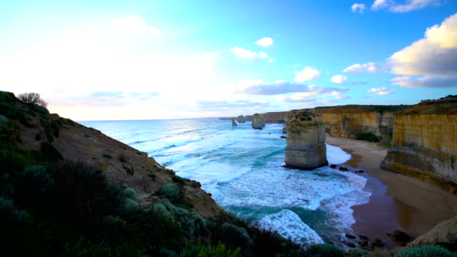 sunshine on ocean waves around twelve apostles australia - port campbell national park stock videos & royalty-free footage
