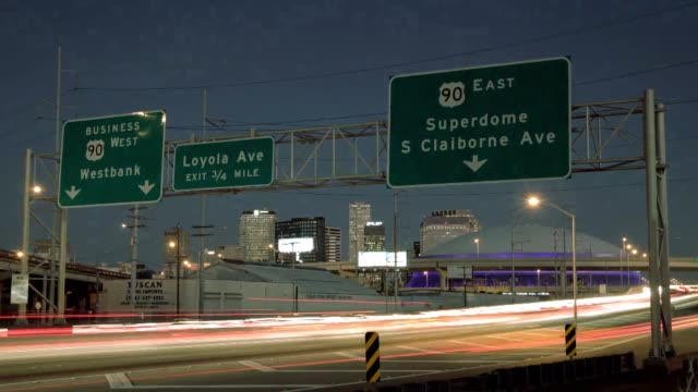 Super Dome signage expressway interstate New Orleans Time Lapse on January 26 2013 in New Orleans LA