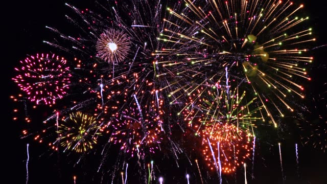 super firework, audio included - firework display stock videos & royalty-free footage