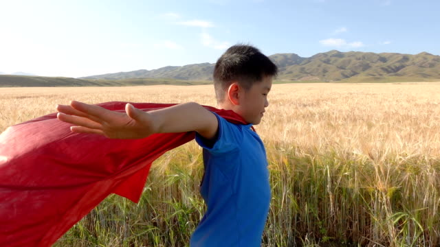 super hero standing beside wheat fields - cape stock videos & royalty-free footage
