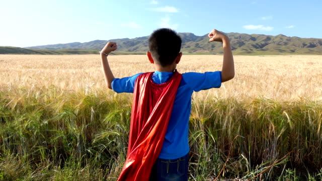 super hero standing beside wheat fields - flexing muscles stock videos & royalty-free footage