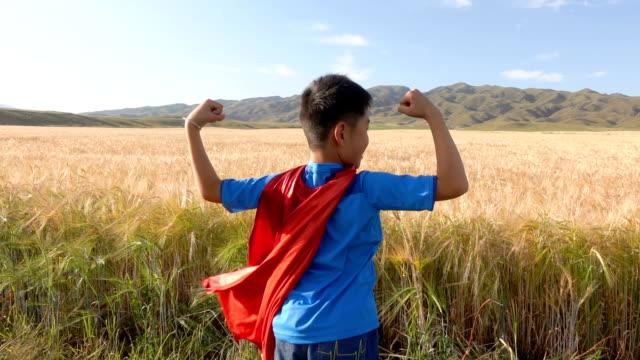 stockvideo's en b-roll-footage met super held staande naast tarwe velden - helden