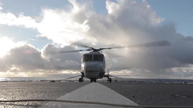 super lynx helicopter from the portuguese nrp corte real conducted landing drills on the norwegian frigate hnoms helge instad during nato exercise... - blade stock videos & royalty-free footage