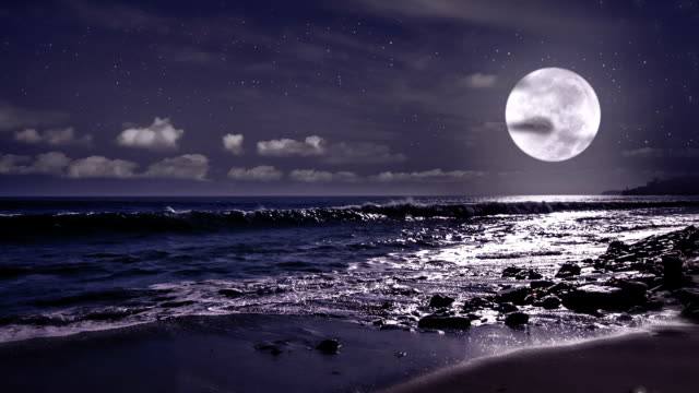 super moon over water - moonlight stock videos & royalty-free footage