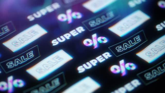 super verkauf hintergrundmuster. glitch-technik - freitag stock-videos und b-roll-filmmaterial