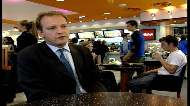 'super size me' film criticises mcdonalds food itn london int nick hindle interviewed sot spurlock chose to eat 5000 calories a day double... - financial item stock videos & royalty-free footage