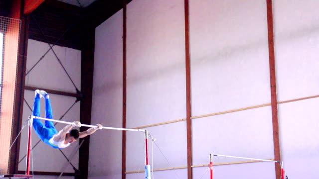 HD: Super Slo-Mo Gymnast Performing Routine on Horizontal Bar