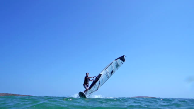 HD: Super Slo-Mo Shot of Young Man Windsurfing