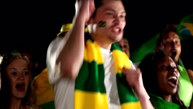 Super Slow Motion,  Brazil sports fan cheering (Olympics)
