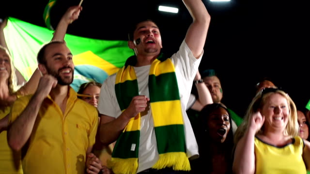 Super Slow Motion, Brazil Sports fans, Supporters, Crowd Jumping