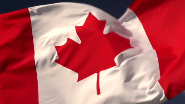 Super Slow Motion HD - Canada flag close up