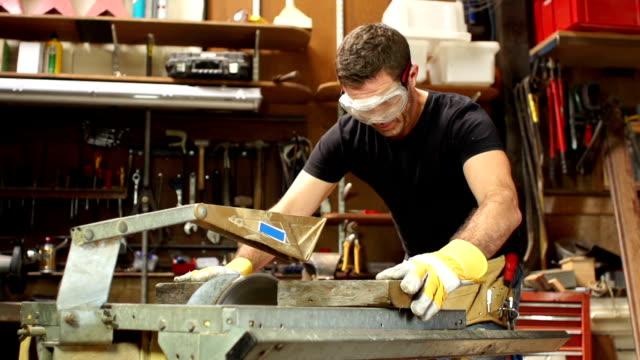 Super Slow Motion HD, Carpenter Cutting wood with Circular Saw