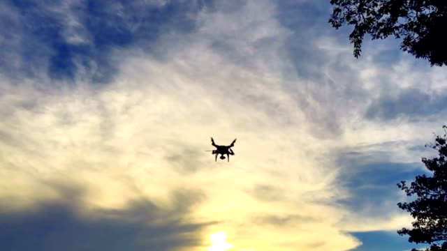 Super Slow motion HD:Camera drone flying at sunset.