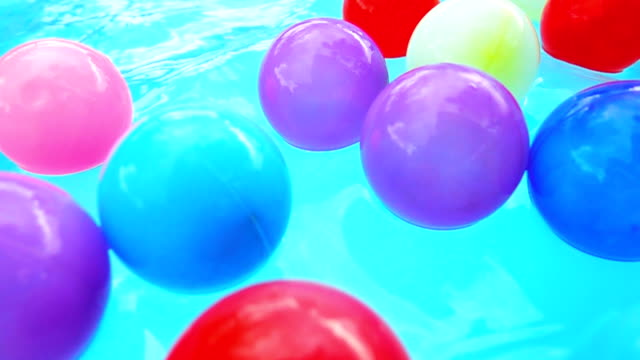 Super slow motion HD:Colorful balls in the pool.