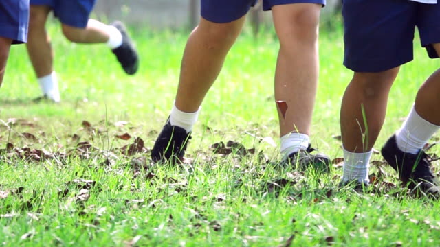 Super Slow motion HD:School children running on the grass