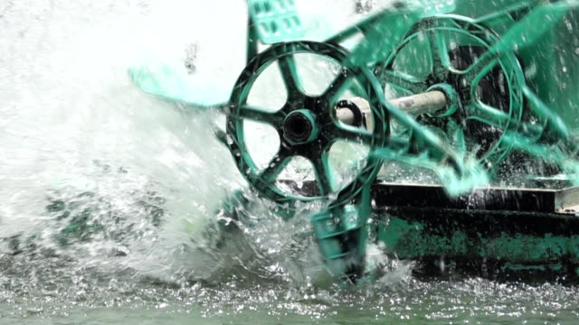 Super Slow Motion Of Turbine for water treatment and circulation of oxygen in the water.
