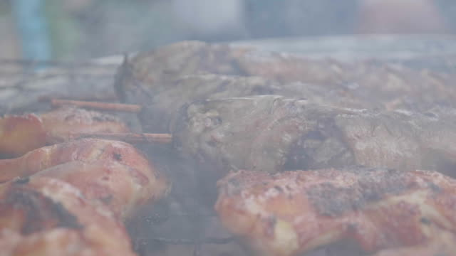 Super Slow motion smoke of Chicken grill ,Fast Food, street food, Taseful, delicious.