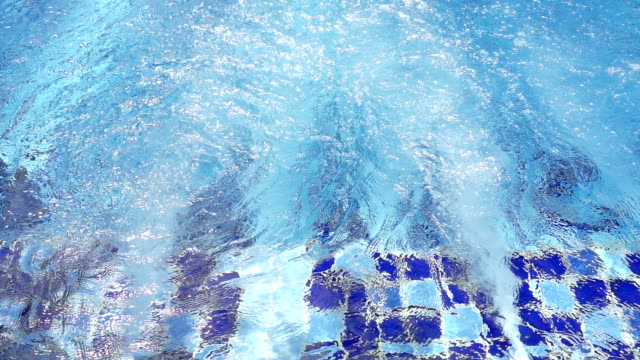HD super slow motion: swimming pool with bubbling water and waves