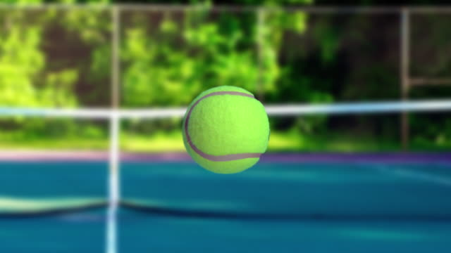 Super slow motion video, Tennis ball moving in the course
