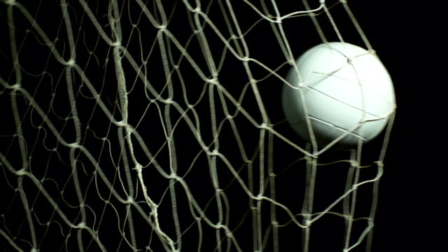 Super Slow Motion, White soccer ball, Football GOAL, Net