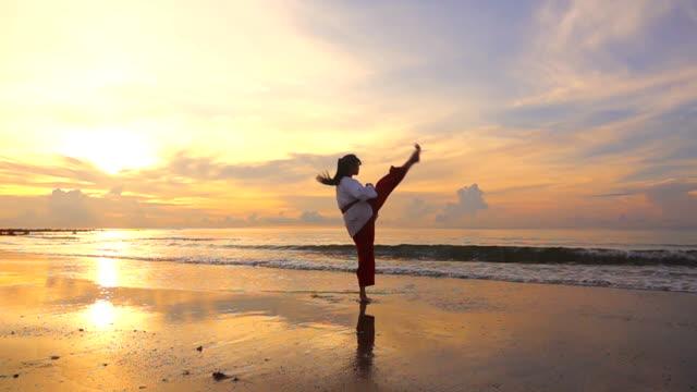 vídeos de stock, filmes e b-roll de hd super slow motion: mulheres jovens practising artes marciais ao ar livre na praia em vez de pôr do sol - karate