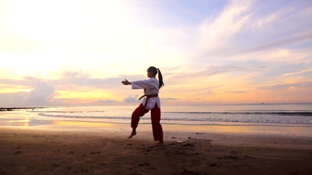 hd super slow motion: young women practising martial arts outdoors on the beach at sunset time - attitudine video stock e b–roll