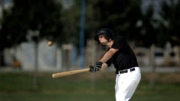HD Super Slow-Mo: Baseball Batter Hitting Ball