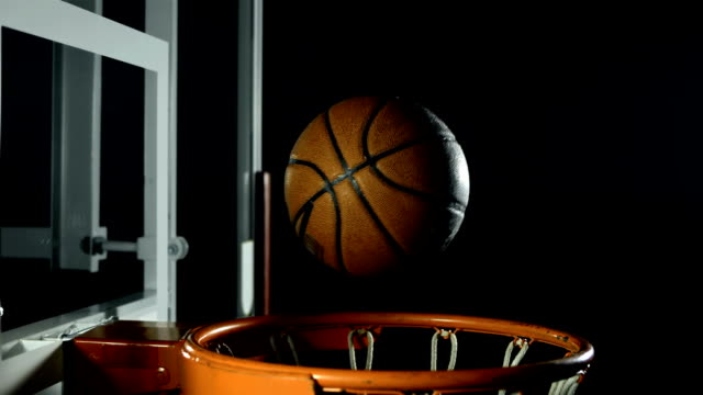 hd super slow-mo: basketball missing the hoop - basket stock videos & royalty-free footage
