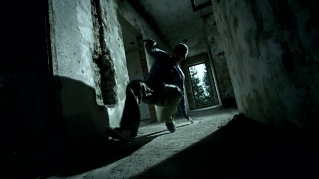 hd super slow-mo: b-boying in an old building - hip hop stock videos & royalty-free footage