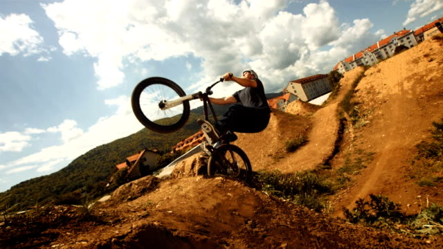 hd super slow-mo: bmx dirt backflip trick - bmx cycling stock videos and b-roll footage
