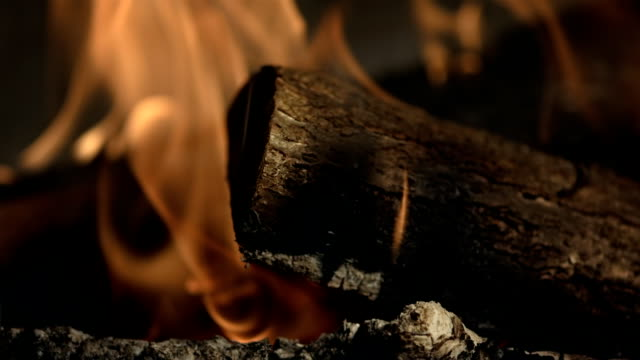 hd super slow-mo: burning log in the fireplace - chalet stock videos & royalty-free footage
