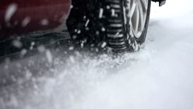 hd super slow-mo: car wheel spinning in the snow - wheel stock videos & royalty-free footage