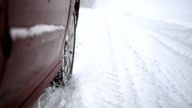 HD Super Slow-Mo: Close-Up Of A Car Wheel In Snow