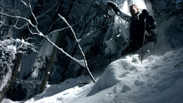 HD Super Slow-Mo: Extreme Skiing Through The Forest